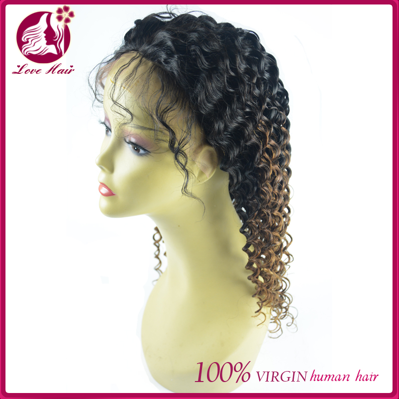 Top quality full lace front wig for black women ombre lace wig deep curly wave unprocessed cosplay party wig for sexy women