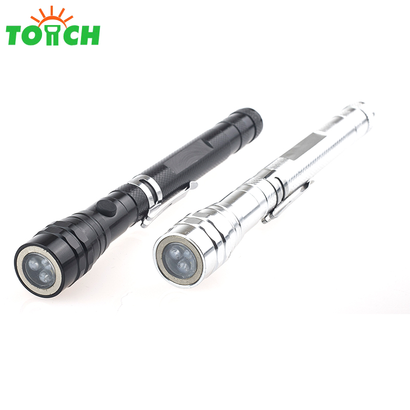 Telescopic adjuted 3pcs LED light power source small size pocket clip aluminum material LED flashlight with magnet