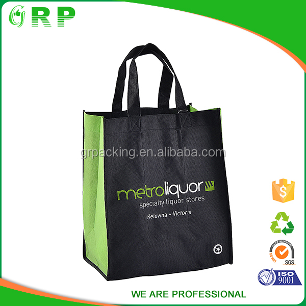 Promotional black lightweight ecofriendly non-woven shopping bag