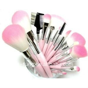 16 Piece Pink Synthetic Vegan Makeup Brush Set