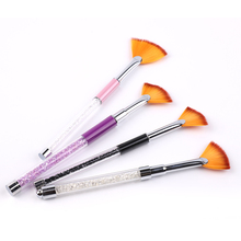 Professional Supplier Provide Rhinestone Handle Nylon Hair Drawing Gradient Tool Fan Nail <strong>Brush</strong>