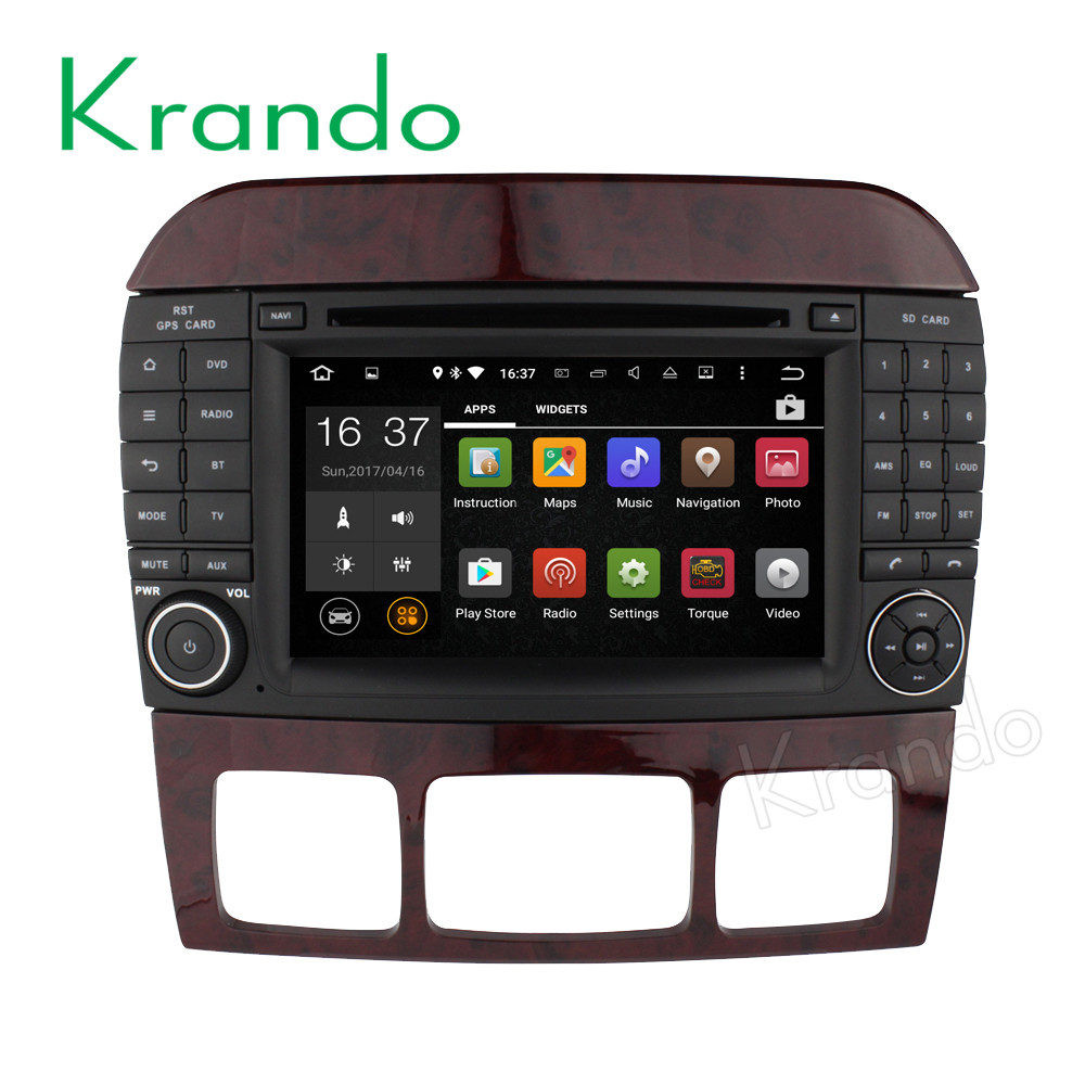 Krando Android 7.1 car dvd player gps multimedia android car dvd for benz s class w220 1998-2005 gps navigation system KD-MB220
