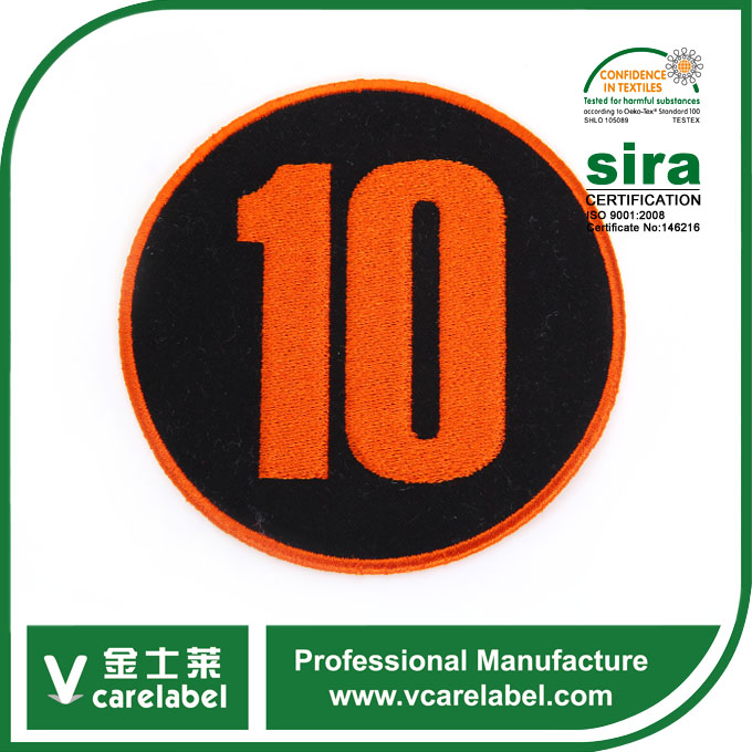 Custom High Quality Number 10 Round Orange Garment Embroidery Patch