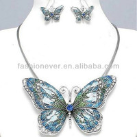 Hand painted Butterfly Blue Green Necklace Set Chunky & Elegant Costume Jewelry