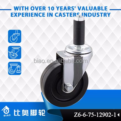 "Swivel 3"" 4"" 5"" Expanding stem mounting mold on rubber wheel caster"
