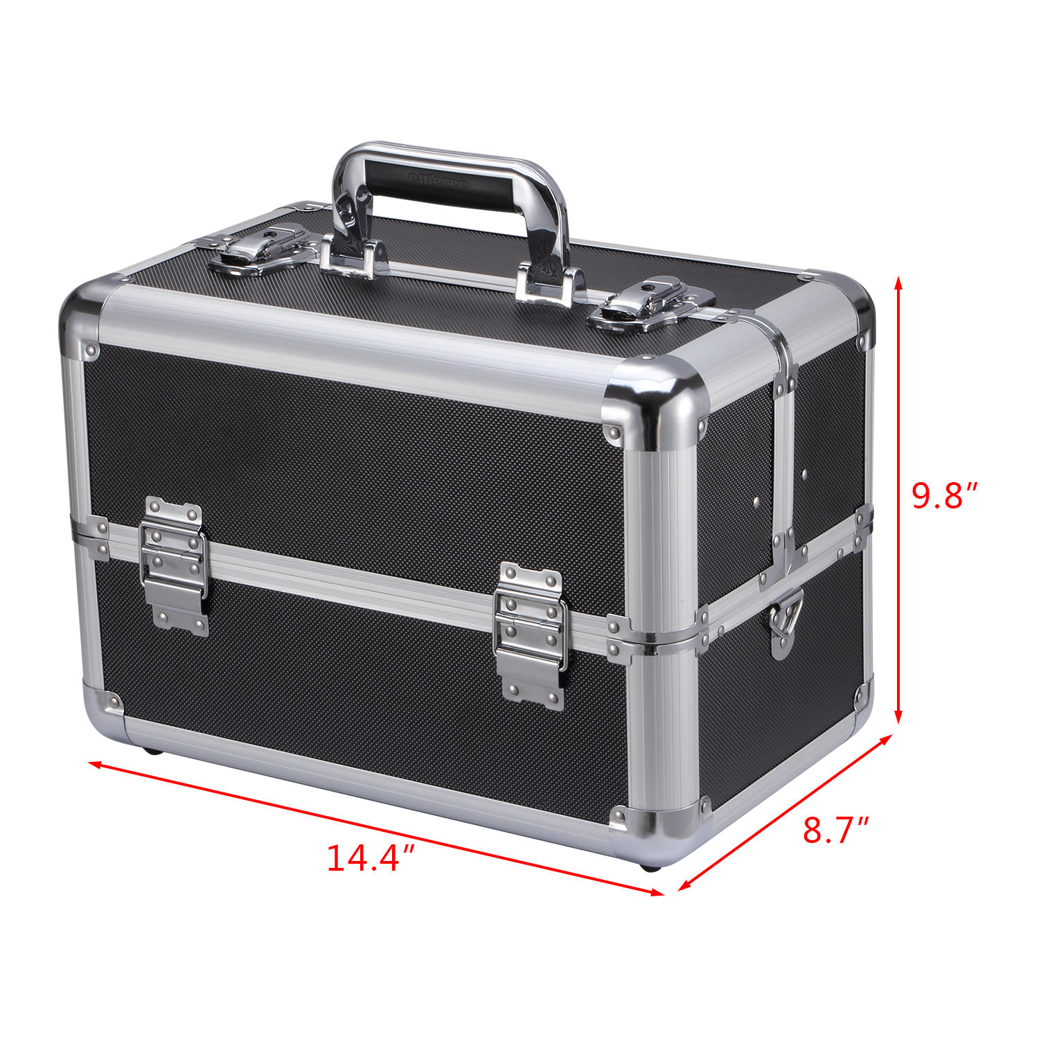 "Makeup Train Case Professional 14.4"" x 8.7"" x 9.8"" Large Makeup Artist Organizer case With Adjustable Dividers Key lock"