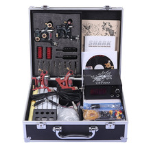 Professional Tattoo Kit 4 Machines Gun Carry Case With Key Power Supply Needles Grips Tips