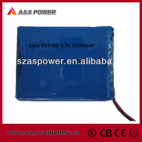 High energy density 855085 lithium polymer battery 3.7v 5000mah cell