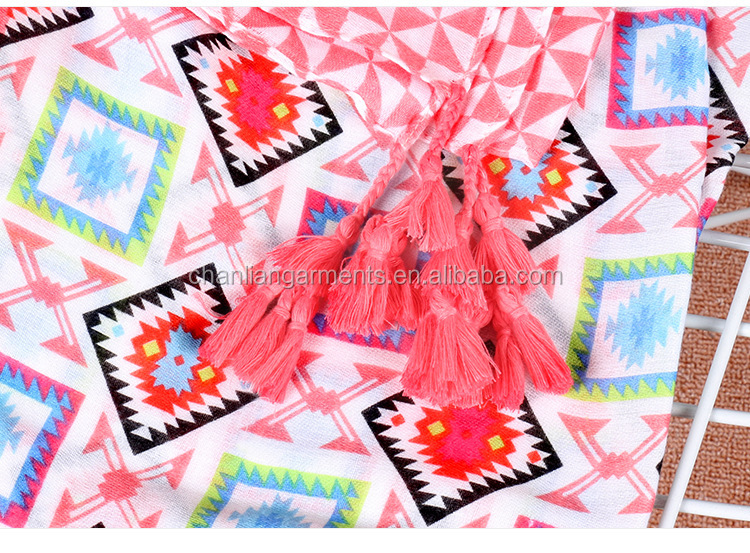 2017 Pink diamond printed girl's fashion tassel shawl scarf wholesale scarves