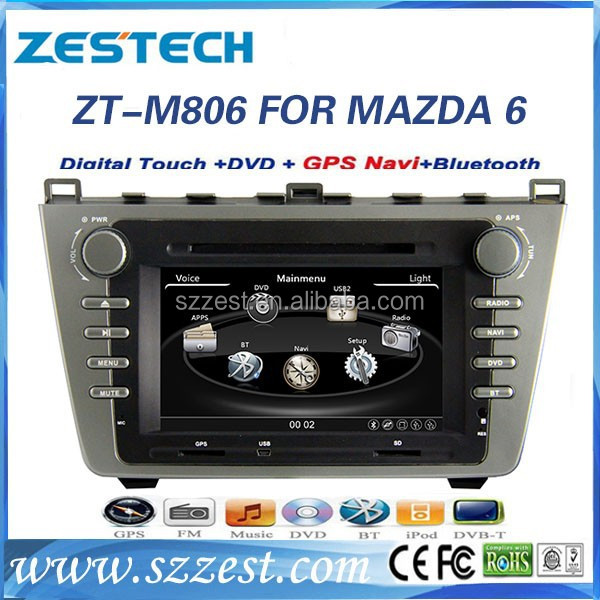 ZESTECH NEW 2008-2012 CE/FCC/ROHS certification and 8 inch 2 din car dvd for MAZDA 6 Navigation system Factory OEM