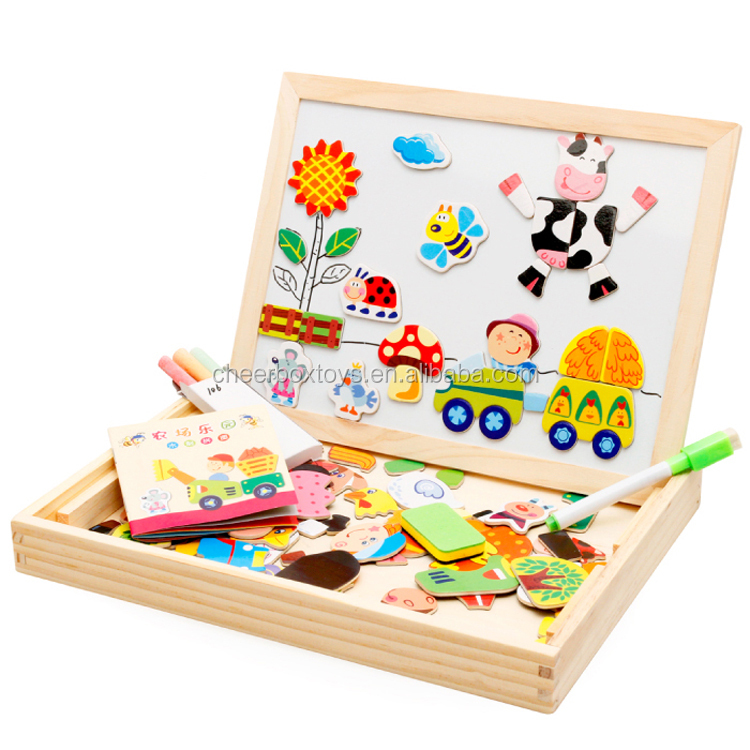 Educational toy magnetic DIY 3D wooden puzzle drawing board toy