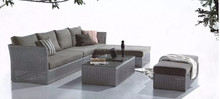 Outdoor wicker rattan grey color sofa sets with chaise lounge