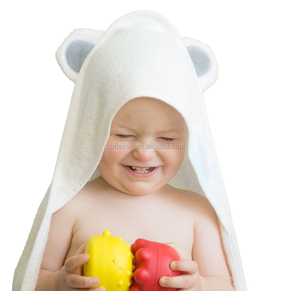 China factory supply premium white Bamboo baby hooded towel with bear ears grey color
