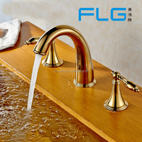 Solid Brass Finish Deck Mounted 3-hole Gold Bathroom Faucets