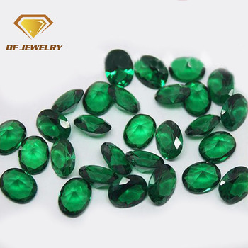 Wuzhou oval nano cz stone green gemstone factory price