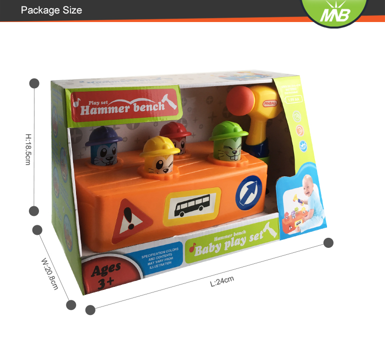 Hammer bench box play set musical popular baby learning toys with light