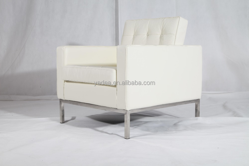 white leather desinger sofa chair Florence knoll modern style furniture