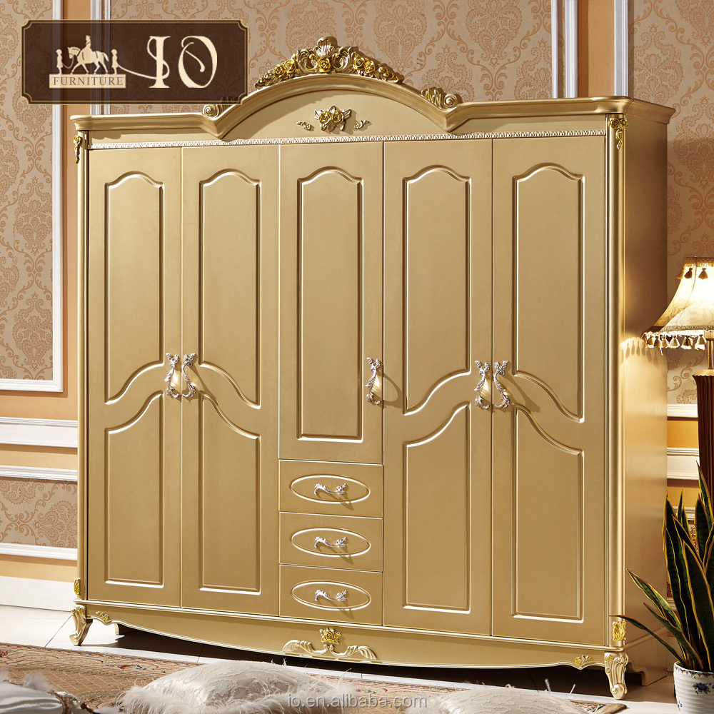 0115#Classical European style design bedroom furniture solid wood wardrobe 5 door