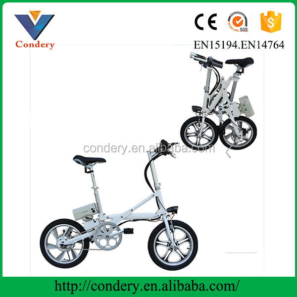 Fashion fast foldable carbon steel 250W 36V motor brushless electric city road bikes