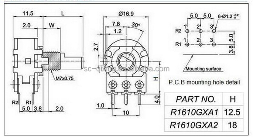 wh148 a103 a503 audio taper potentiometers