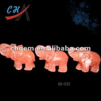 "2""color watermelon red glass indian elephant figurines"