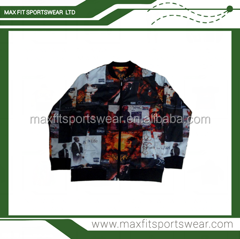 Custom made polyester allover print dye sublimation bomber jackets