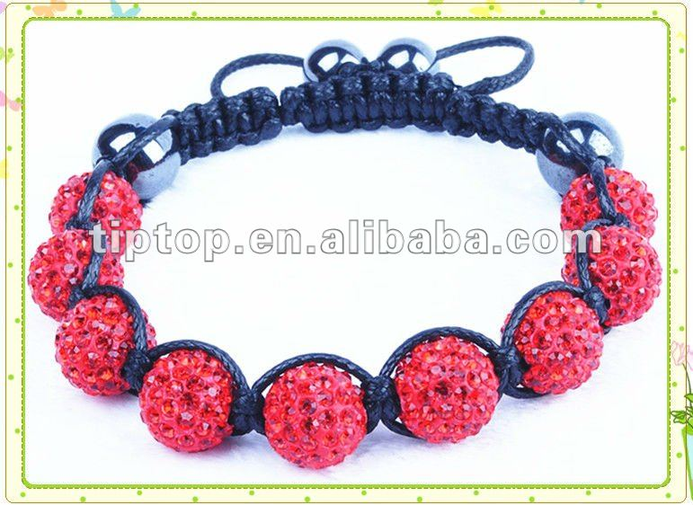 NEWEST PERLE DE SHAMBALLA WITH FIMO BEADS AND RED STONES