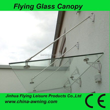 304 stainless steel glass canopy,frosted glass size 3000x900mm