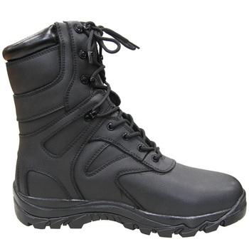 Mens Black Genuine Leather Waterproof Military boots