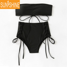 Fashion Solid Black Lace Up Bandage Bikini Swimwear Seamless Bandeau Bikini Top