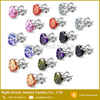 Stainless Steel Bling Pink Heart Cubic Zirconia Inlay Stud Earrings Set