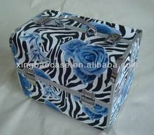 Zebra pattern cosmetic makeup suitcases,blue flower makeup case trolley nylon,aluminum cosmetic case