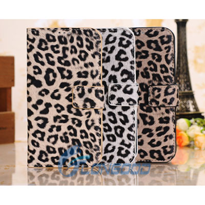 Leopard Wallet Style Flip Button Leather Case for Samsung Galaxy S4 / i9500