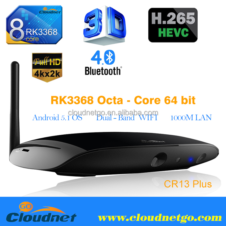 Cloudnetgo Octa core RK3368 4K smart TV BOX Dual Band WIFI 2.4G & 5G Android 5.1 tv box with 2MP webcam for skype / Kodi laoded