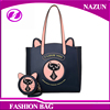 custom cute animal cat design traveling contrast color trend hand leather shopping tote bag for lady