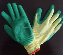 10 gauge yellow polycotton liner 3/4 coated green latex on palm safety gloves/working glov