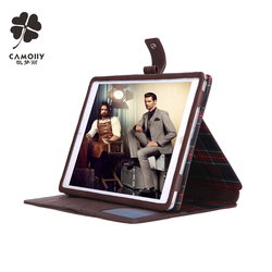 genuine leather tablet case for ipad air 1 / 2 / 3 pro with card holders and stands and handle