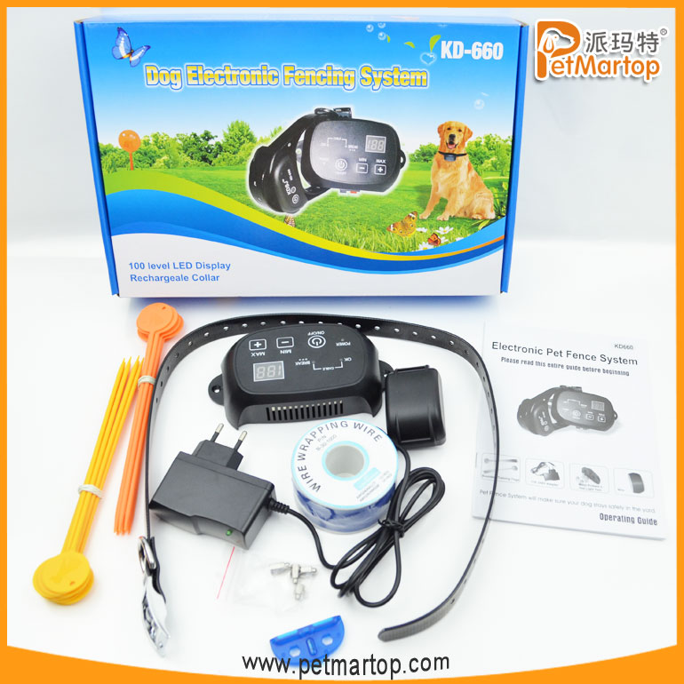 2017 Outdoor Electronic Pet Dog Fence System Collar, In-Ground Wired Invisible Electric Fence Dog Collar, Cheap Dog Run Fence