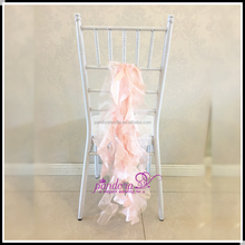 Blush Satin Organza curly willow wedding chair sashes