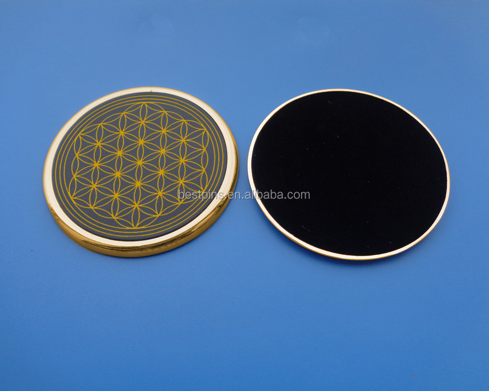 gold tone flower of life anti slip metal drink placemats
