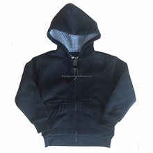 CVC60/40 outside polyester sherpa interlayer long sleeve zip up kids winter hoodies jackets