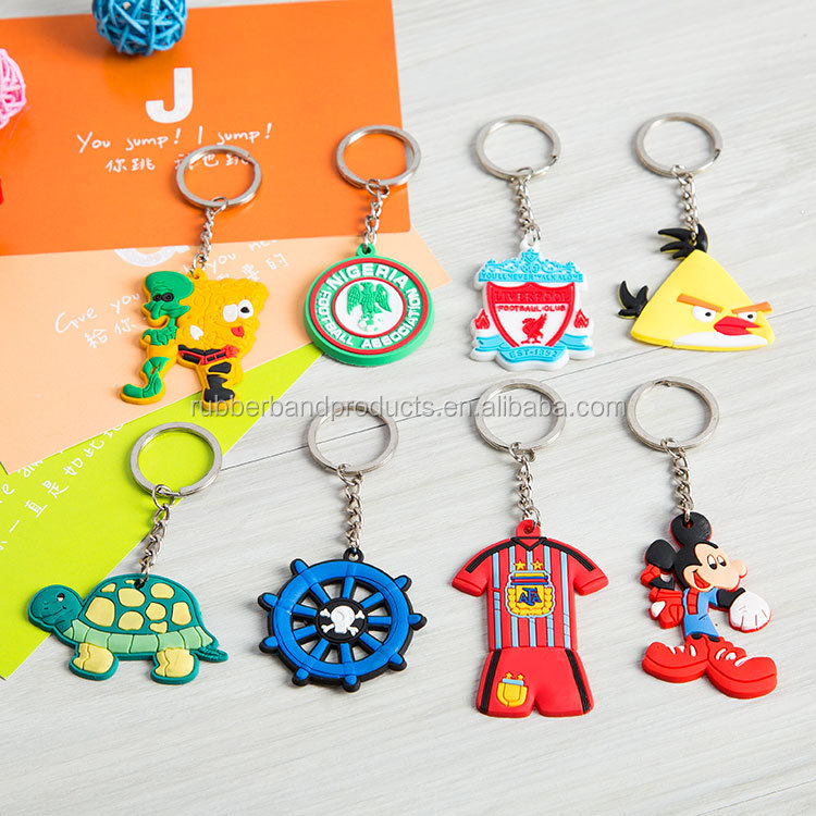 High Quality 3D Animal PVC Keychain Rings, Custom Plastic Fashion Key Rings
