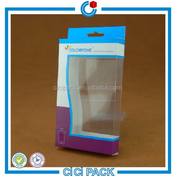 fancy folding art paper cellphone case box with transparent window