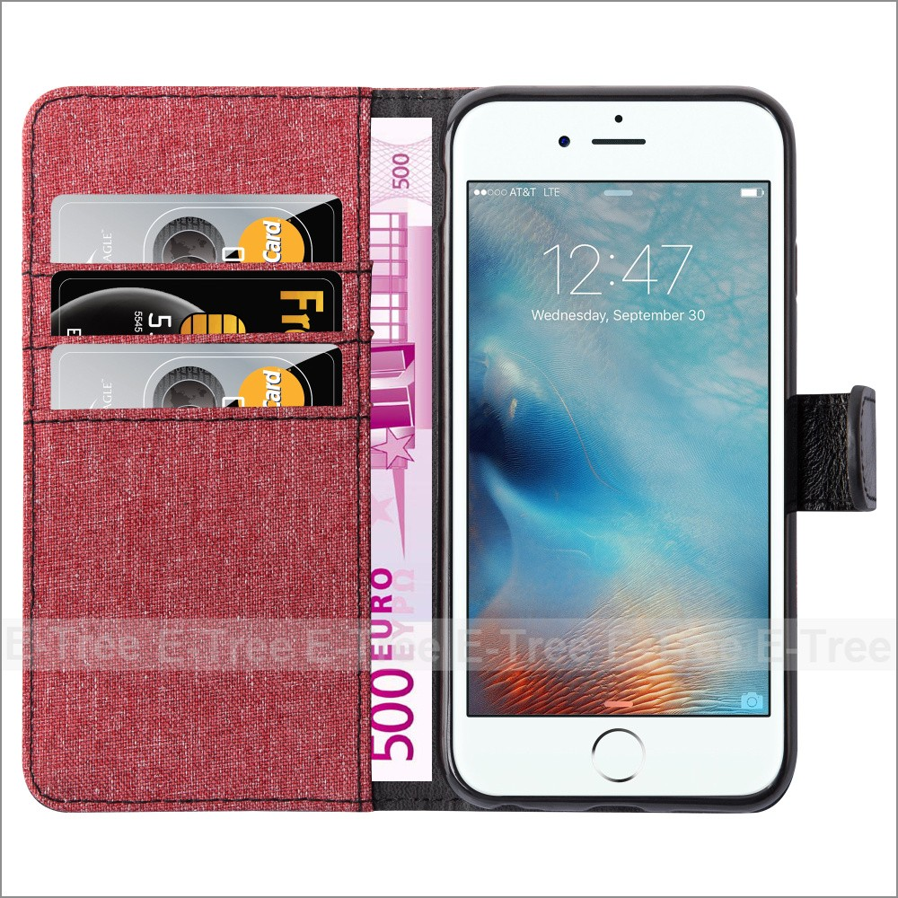 For iphone 7 wallet case , Denim fabric leather card slots phone case for iphone7 case wallet