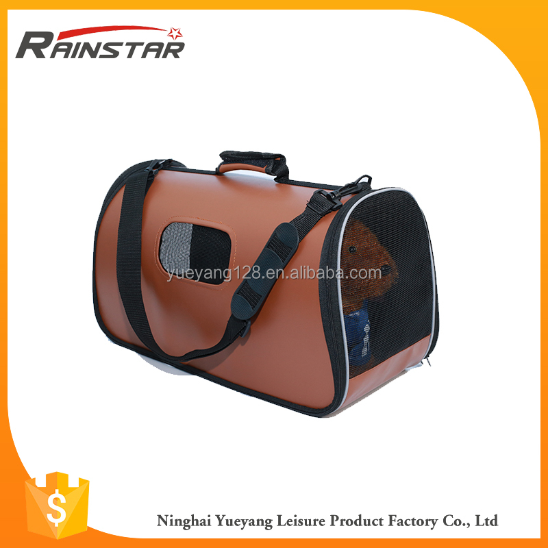 Eco-Friendly PU leather airline pet small dog carrier