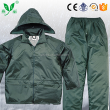 YANLI olive green 100%waterproof pvc raincoat with pocket