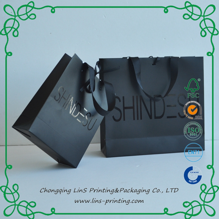 On Sale Fancy Paper High Quality Strong Ribbon Shopping Paper Bags with Your Own Logo