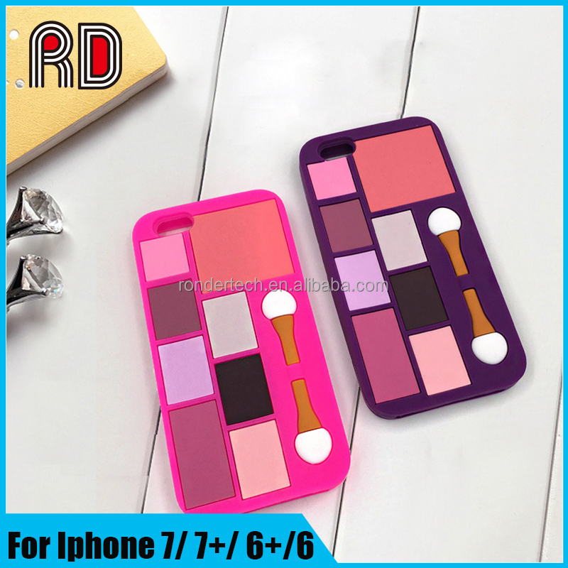 New style makeup colorful eye brush women design silicon square cell phone case for iphone 5 5s 6 6s 6plus