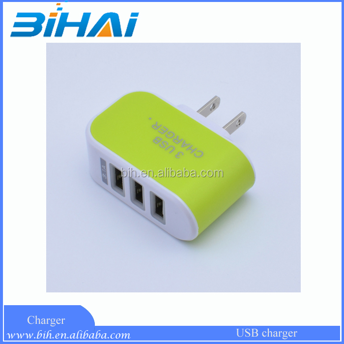 Wholesale Candy Color LED Light Wall Home Travel AC Power Charger Adapter 3 Ports USB Charger