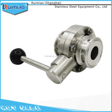 High quality SS304/316 sanitary stainless steel DN butterfly valve